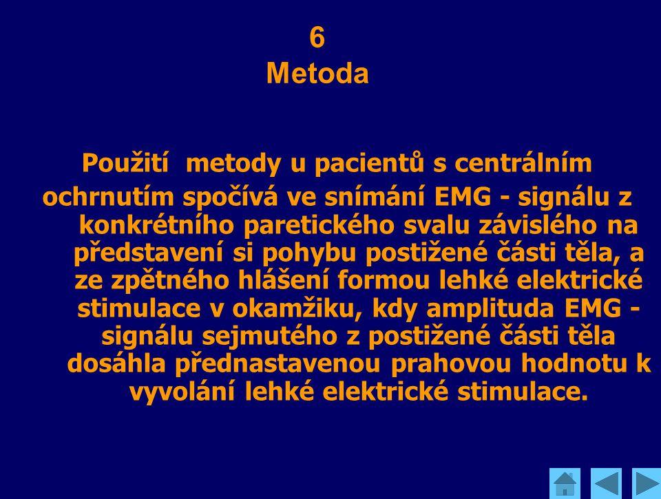 Použití metody u pacientů s centrálním ochrnutím spočívá ve snímání EMG - signálu z konkrétního paretického svalu závislého na představení si pohybu p