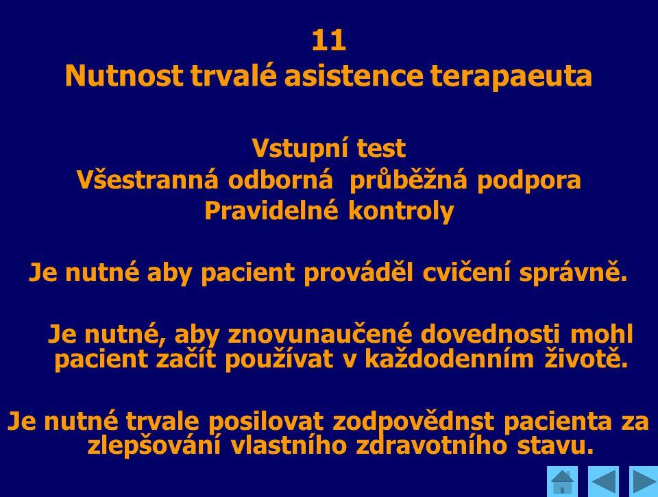 11 Nutnost trvalé asistence terapaeuta Vstupní test Všestranná odborná průběžná podpora Pravidelné kontroly Je nutné aby pacient prováděl cvičení sprá