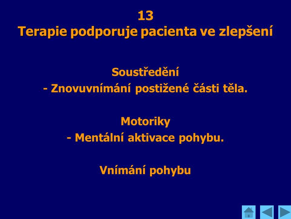 Terapie podporuje pacienta 13 Terapie podporuje pacienta ve zlepšení Soustředění - Znovuvnímání postižené části těla. Motoriky - Mentální aktivace poh