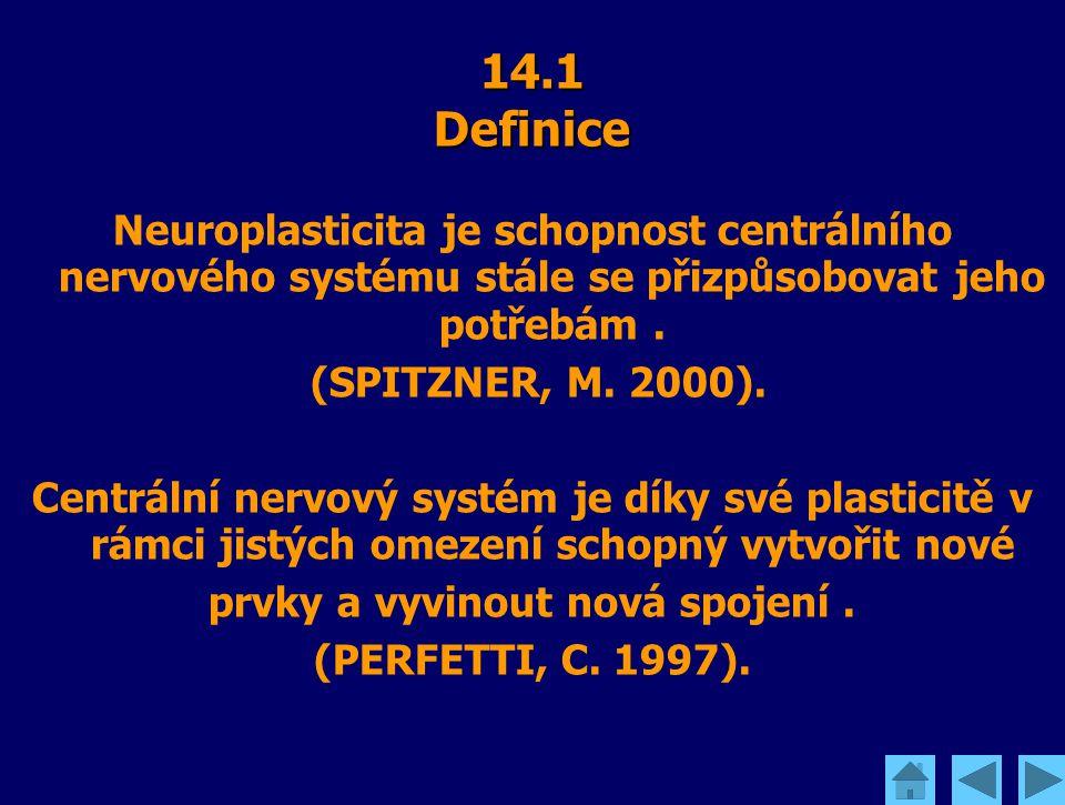 14.1 Definice Neuroplasticita je schopnost centrálního nervového systému stále se přizpůsobovat jeho potřebám. (SPITZNER, M. 2000). Centrální nervový