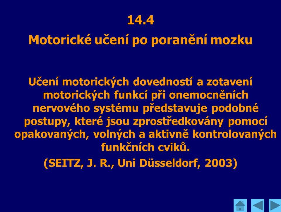 14.4 Motorické učení po poranění mozku Učení motorických dovedností a zotavení motorických funkcí při onemocněních nervového systému představuje podob