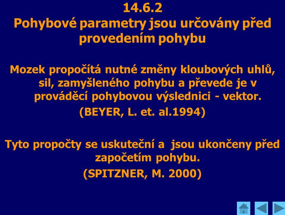 14.6.2 Pohybové parametry jsou určovány před provedením pohybu Mozek propočítá nutné změny kloubových uhlů, sil, zamyšleného pohybu a převede je v pro