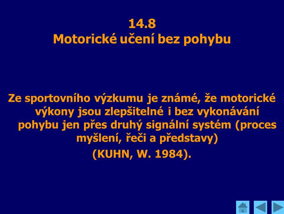 14.8 Motorické učení bez pohybu Ze sportovního výzkumu je známé, že motorické výkony jsou zlepšitelné i bez vykonávání pohybu jen přes druhý signální