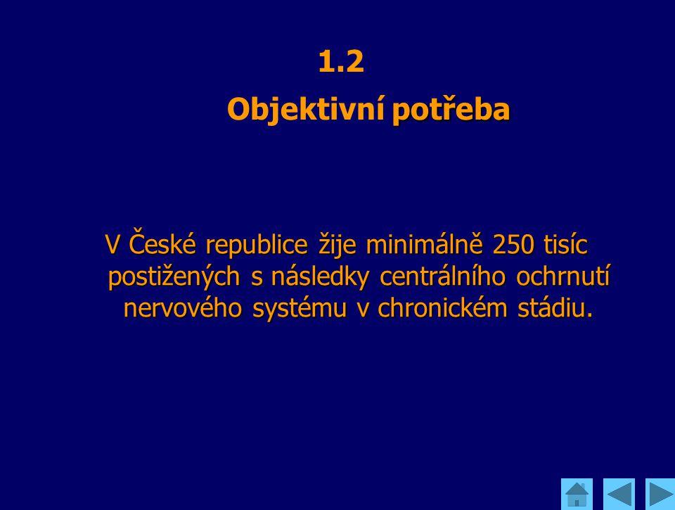 potřeba 1.2 Objektivní potřeba V České republice žije minimálně 250 tisíc postižených s následky centrálního ochrnutí nervového systému v chronickém s