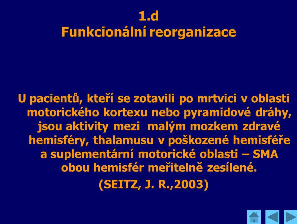 Funkcionální reorganizace 1.d Funkcionální reorganizace U pacientů, kteří se zotavili po mrtvici v oblasti motorického kortexu nebo pyramidové dráhy,