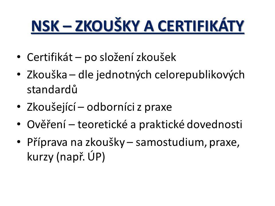 NSK – ZKOUŠKY A CERTIFIKÁTY Certifikát – po složení zkoušek Zkouška – dle jednotných celorepublikových standardů Zkoušející – odborníci z praxe Ověřen