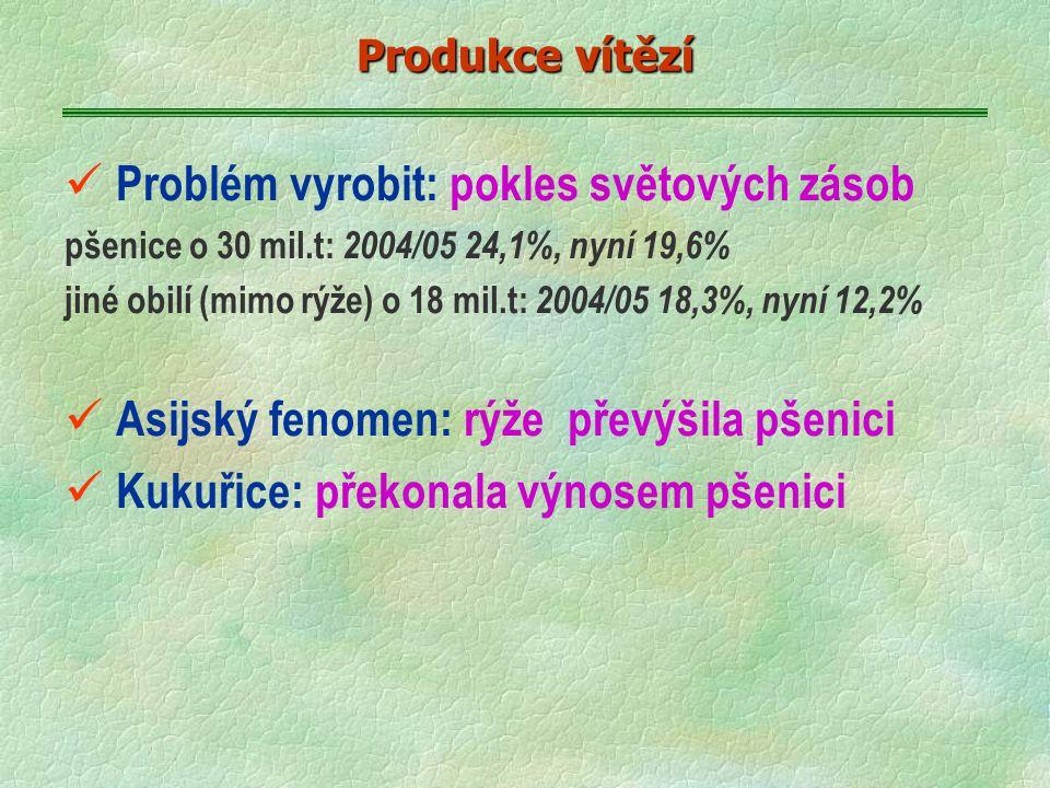 ü Problém vyrobit: pokles světových zásob pšenice o 30 mil.t: 2004/05 24,1%, nyní 19,6% jiné obilí (mimo rýže) o 18 mil.t: 2004/05 18,3%, nyní 12,2% ü