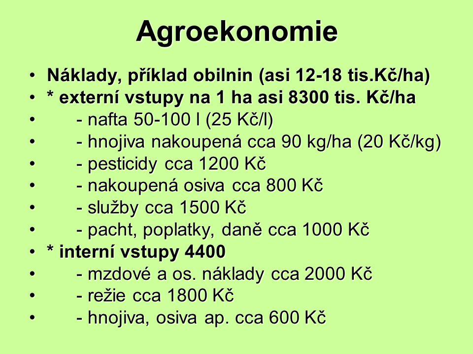 Agroekonomie Náklady, příklad obilnin (asi 12-18 tis.Kč/ha)Náklady, příklad obilnin (asi 12-18 tis.Kč/ha) * externí vstupy na 1 ha asi 8300 tis. Kč/ha