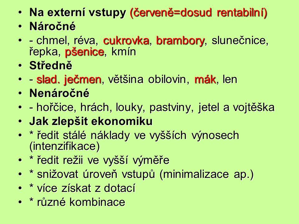 Na externí vstupy (červeně=dosud rentabilní)Na externí vstupy (červeně=dosud rentabilní) NáročnéNáročné - chmel, réva, cukrovka, brambory, slunečnice,