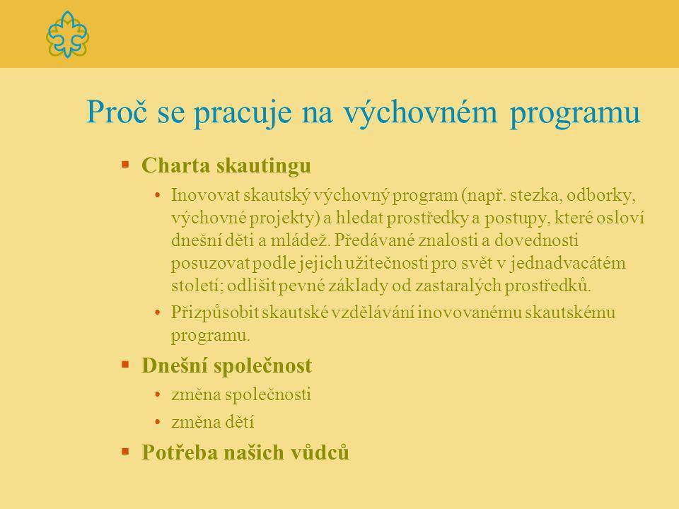 Proč se pracuje na výchovném programu  Charta skautingu Inovovat skautský výchovný program (např. stezka, odborky, výchovné projekty) a hledat prostř