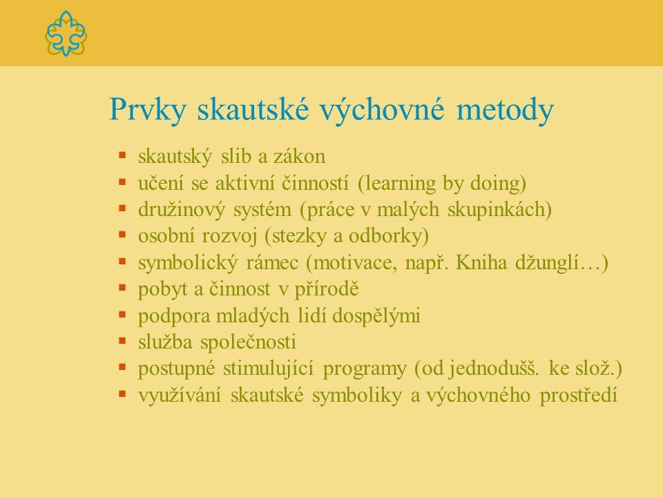 Prvky skautské výchovné metody  skautský slib a zákon  učení se aktivní činností (learning by doing)  družinový systém (práce v malých skupinkách)