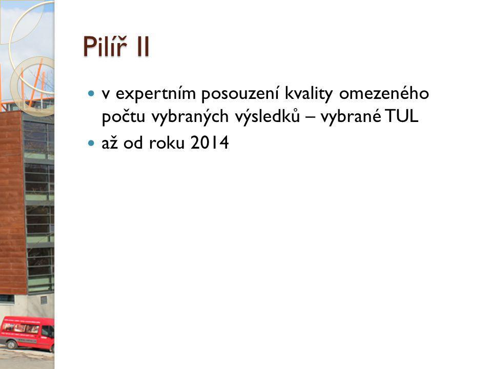 Pilíř II v expertním posouzení kvality omezeného počtu vybraných výsledků – vybrané TUL až od roku 2014