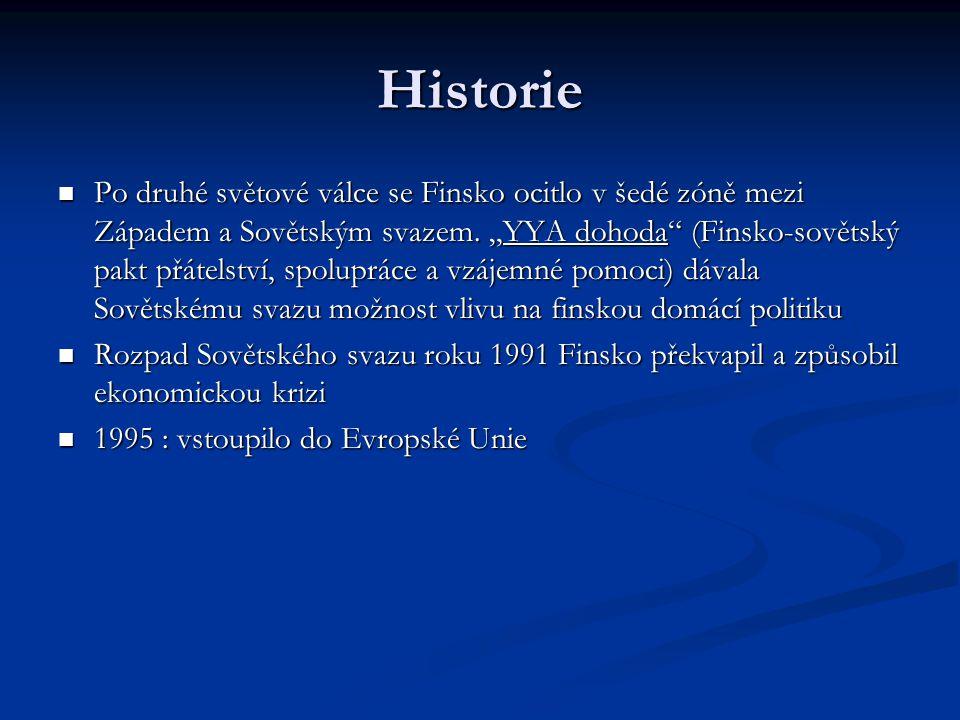 Historie Po druhé světové válce se Finsko ocitlo v šedé zóně mezi Západem a Sovětským svazem.