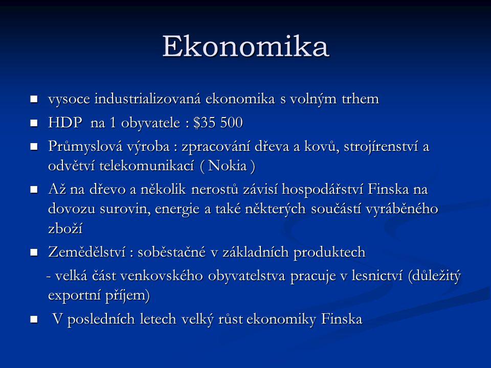 Ekonomika vysoce industrializovaná ekonomika s volným trhem vysoce industrializovaná ekonomika s volným trhem HDP na 1 obyvatele : $35 500 HDP na 1 obyvatele : $35 500 Průmyslová výroba : zpracování dřeva a kovů, strojírenství a odvětví telekomunikací ( Nokia ) Průmyslová výroba : zpracování dřeva a kovů, strojírenství a odvětví telekomunikací ( Nokia ) Až na dřevo a několik nerostů závisí hospodářství Finska na dovozu surovin, energie a také některých součástí vyráběného zboží Až na dřevo a několik nerostů závisí hospodářství Finska na dovozu surovin, energie a také některých součástí vyráběného zboží Zemědělství : soběstačné v základních produktech Zemědělství : soběstačné v základních produktech - velká část venkovského obyvatelstva pracuje v lesnictví (důležitý exportní příjem) - velká část venkovského obyvatelstva pracuje v lesnictví (důležitý exportní příjem) V posledních letech velký růst ekonomiky Finska V posledních letech velký růst ekonomiky Finska