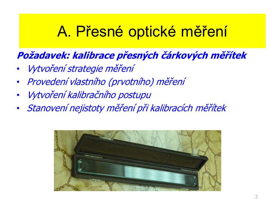 3 Princip činnosti laseru A. Přesné optické měření Požadavek: kalibrace přesných čárkových měřítek Vytvoření strategie měření Provedení vlastního (prv
