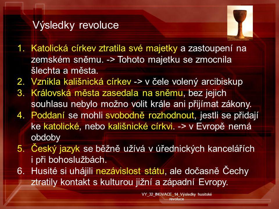Výsledky revoluce 1.Katolická církev ztratila své majetky a zastoupení na zemském sněmu.