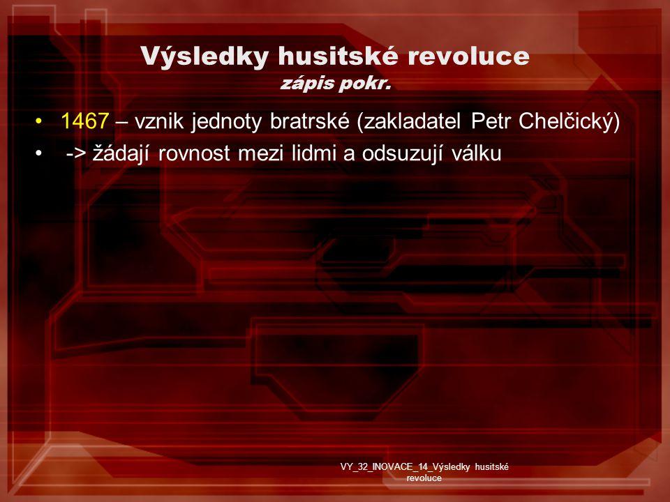 Výsledky husitské revoluce zápis pokr.