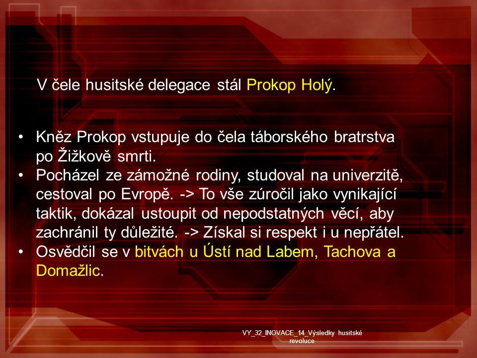 V čele husitské delegace stál Prokop Holý.