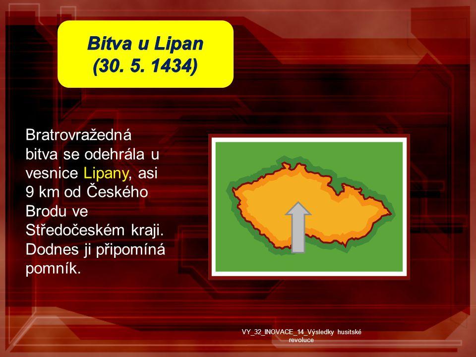 Bratrovražedná bitva se odehrála u vesnice Lipany, asi 9 km od Českého Brodu ve Středočeském kraji.