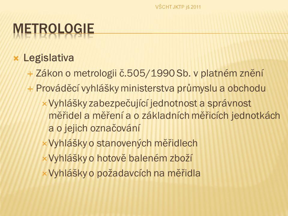  Legislativa  Zákon o metrologii č.505/1990 Sb. v platném znění  Prováděcí vyhlášky ministerstva průmyslu a obchodu  Vyhlášky zabezpečující jednot