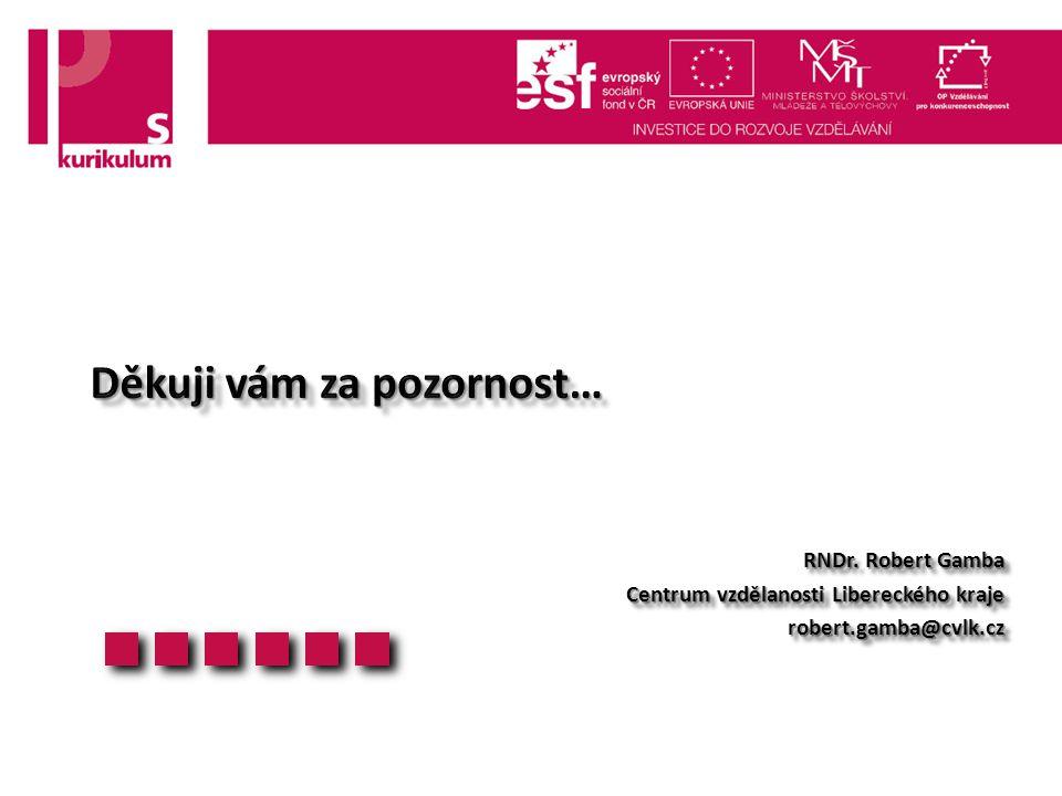 RNDr. Robert Gamba Centrum vzdělanosti Libereckého kraje robert.gamba@cvlk.cz RNDr.