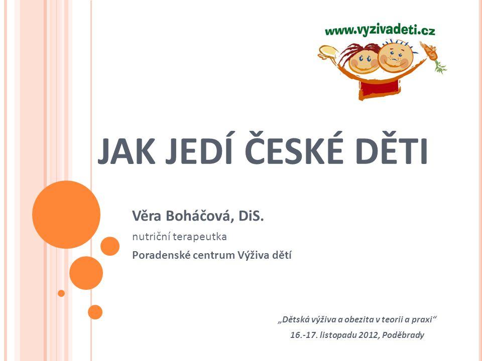 """JAK JEDÍ ČESKÉ DĚTI Věra Boháčová, DiS. nutriční terapeutka Poradenské centrum Výživa dětí """"Dětská výživa a obezita v teorii a praxi"""" 16.-17. listopad"""
