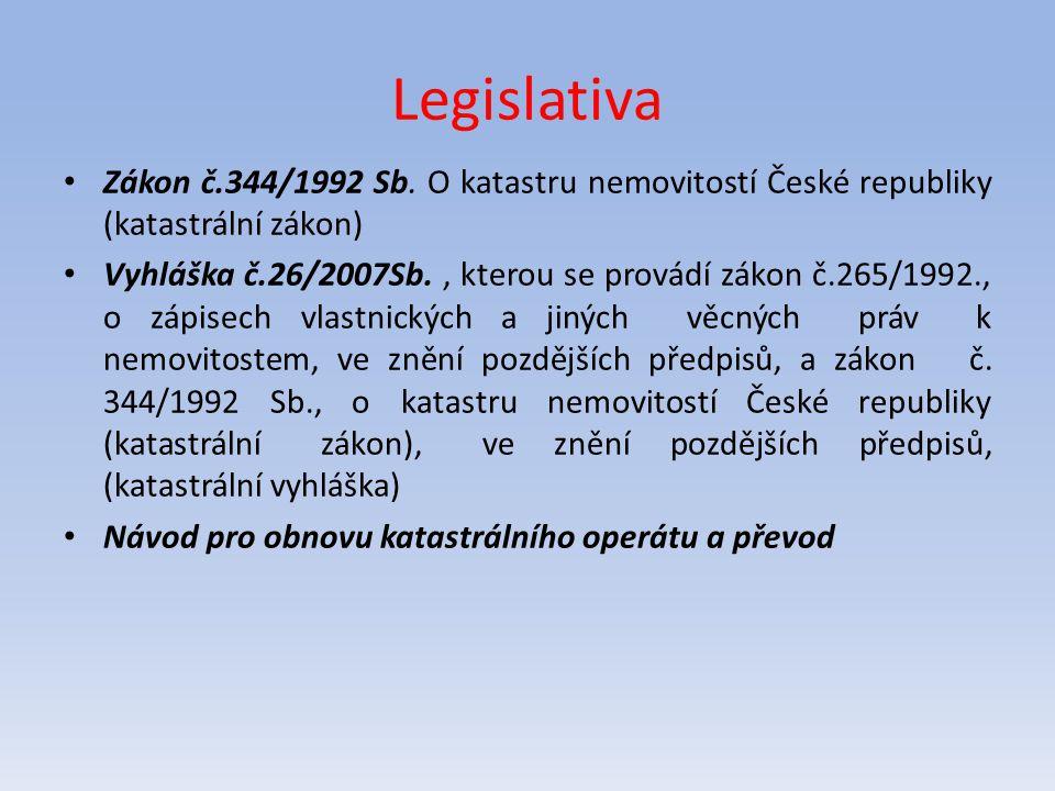 Legislativa Zákon č.344/1992 Sb. O katastru nemovitostí České republiky (katastrální zákon) Vyhláška č.26/2007Sb., kterou se provádí zákon č.265/1992.