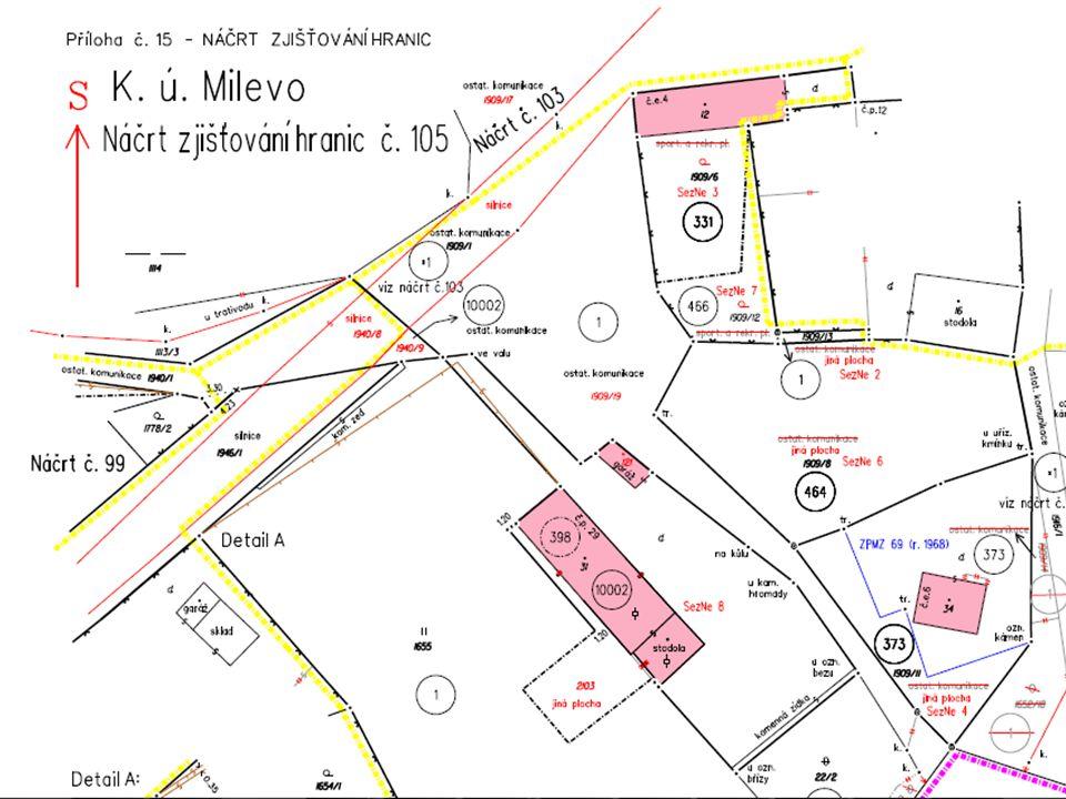 Podrobné měření Předměty obsahu katastrální mapy označené v terénu a vyznačené v náčrtu zjišťování hranic Neoznačené hranice se převezmou z dosavadního katastrálního operátu Geodetické metody Fotogrammetrické metody