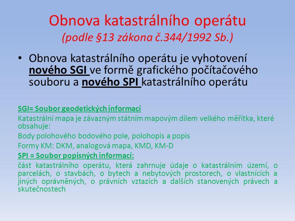 Obnova katastrálního operátu (podle §13 zákona č.344/1992 Sb.) Obnova katastrálního operátu je vyhotovení nového SGI ve formě grafického počítačového