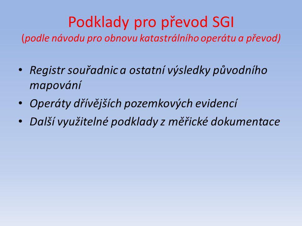 Podklady pro převod SGI (podle návodu pro obnovu katastrálního operátu a převod) Registr souřadnic a ostatní výsledky původního mapování Operáty dřívě