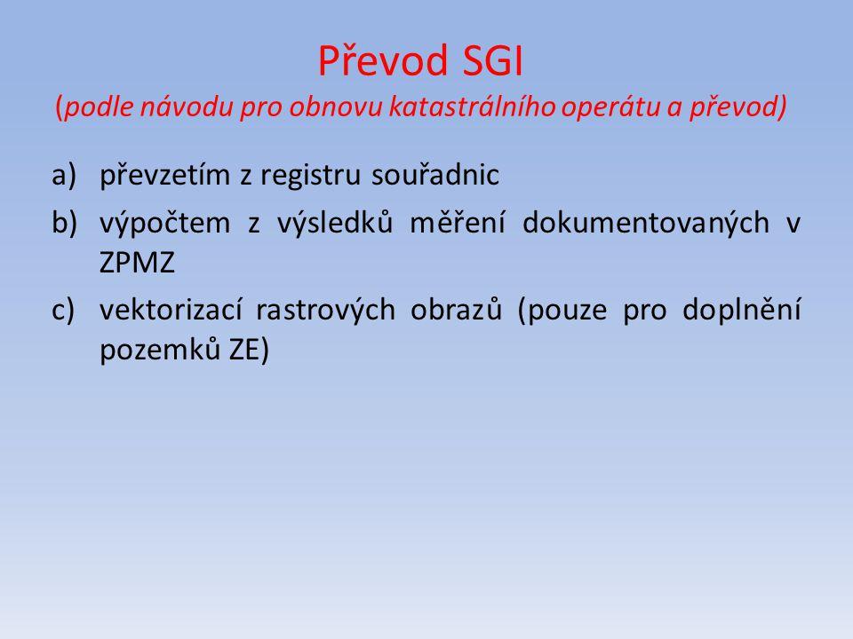 Převod SGI (podle návodu pro obnovu katastrálního operátu a převod) a)převzetím z registru souřadnic b)výpočtem z výsledků měření dokumentovaných v ZP