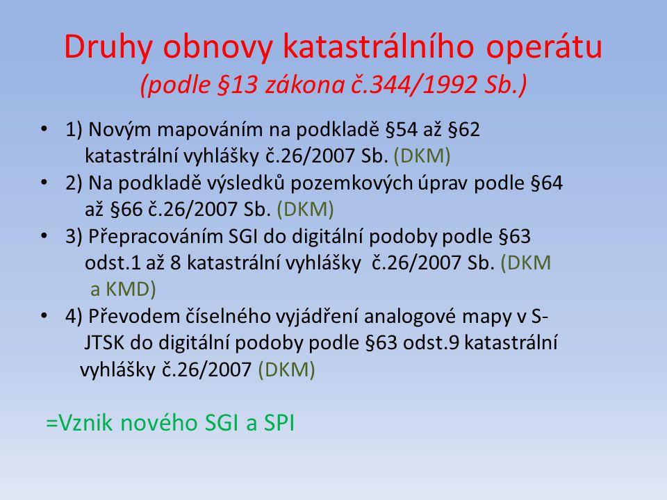 Druhy obnovy katastrálního operátu (podle §13 zákona č.344/1992 Sb.) 1) Novým mapováním na podkladě §54 až §62 katastrální vyhlášky č.26/2007 Sb. (DKM