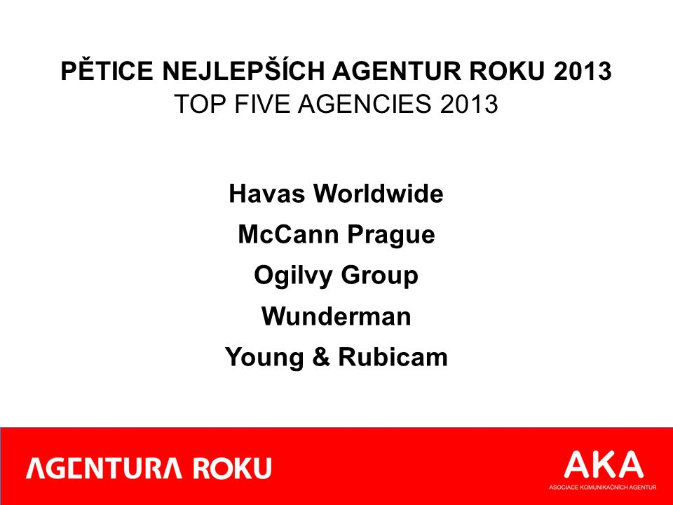 PĚTICE NEJLEPŠÍCH AGENTUR ROKU 2013 TOP FIVE AGENCIES 2013 Havas Worldwide McCann Prague Ogilvy Group Wunderman Young & Rubicam