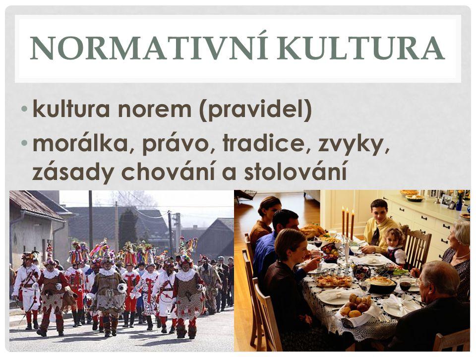 NORMATIVNÍ KULTURA kultura norem (pravidel) morálka, právo, tradice, zvyky, zásady chování a stolování