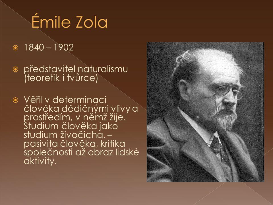  1840 – 1902  představitel naturalismu (teoretik i tvůrce)  Věřil v determinaci člověka dědičnými vlivy a prostředím, v němž žije.