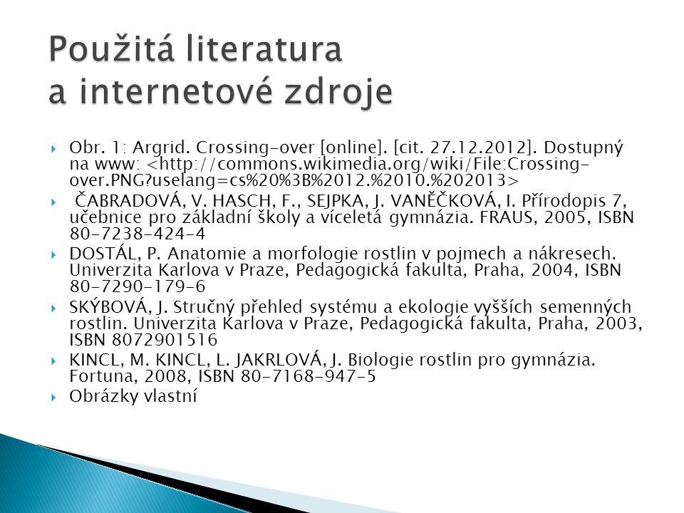  Obr. 1: Argrid. Crossing-over [online]. [cit. 27.12.2012]. Dostupný na www:  ČABRADOVÁ, V. HASCH, F., SEJPKA, J. VANĚČKOVÁ, I. Přírodopis 7, učebni