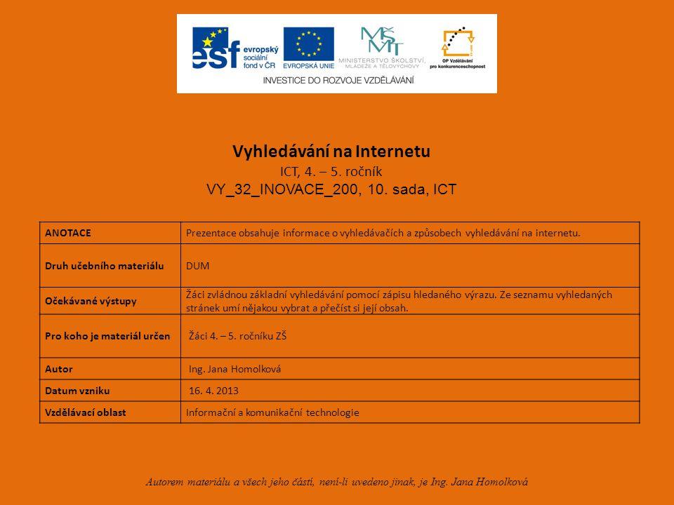 Vyhledávání na Internetu ICT – 4.– 5.