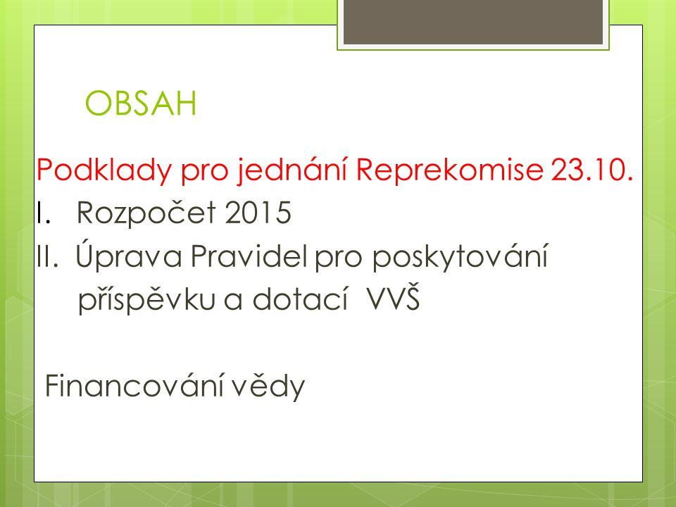 OBSAH Podklady pro jednání Reprekomise 23.10. I. Rozpočet 2015 II.