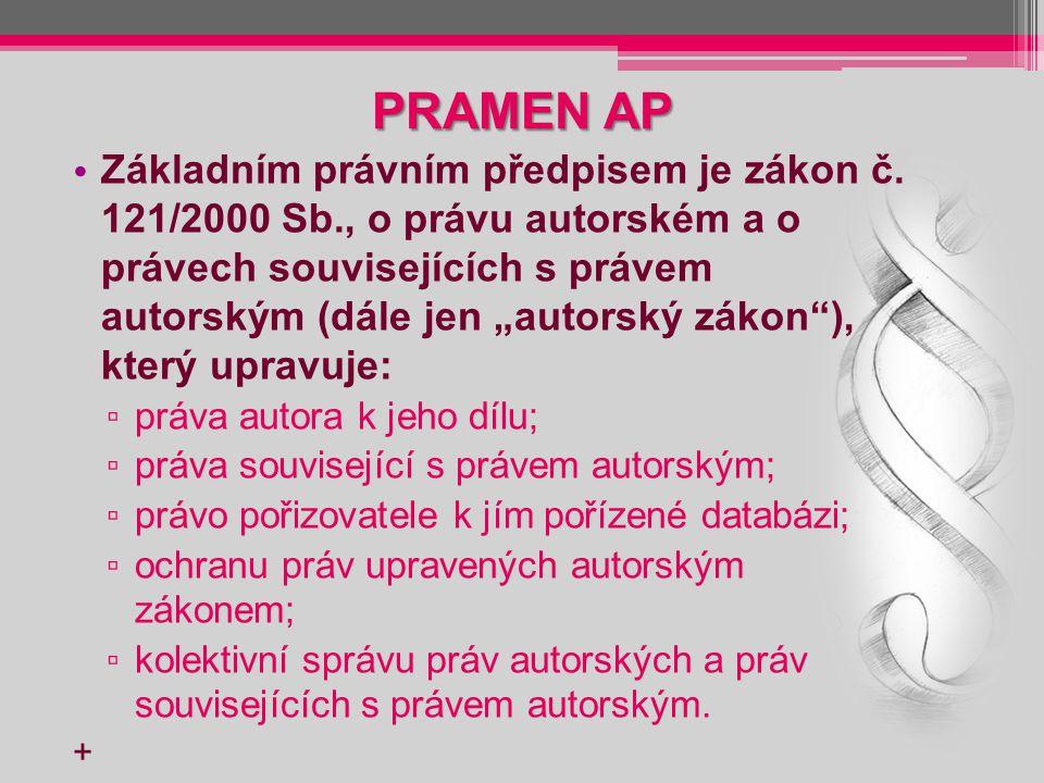 PRÁVA SOUVISEJÍCÍ S AP Vedle práv autora upravuje autorský zákon také práva související s právem autorským, kterými jsou: právo výkonného umělce k uměleckému výkonu; právo výrobce zvukového záznamu k jeho záznamu; právo výrobce zvukově – obrazového záznamu k jeho prvotnímu záznamu; právo rozhlasového a televizního vysílatele k jeho vysílání; právo nakladatele.