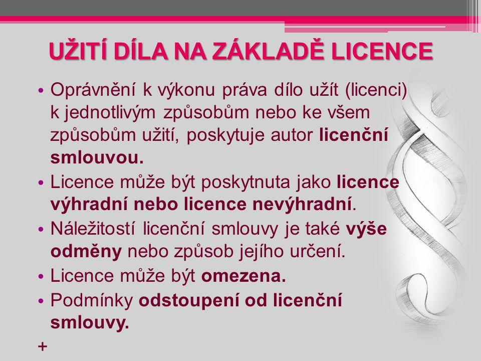 UŽITÍ DÍLA NA ZÁKLADĚ LICENCE Oprávnění k výkonu práva dílo užít (licenci) k jednotlivým způsobům nebo ke všem způsobům užití, poskytuje autor licenční smlouvou.