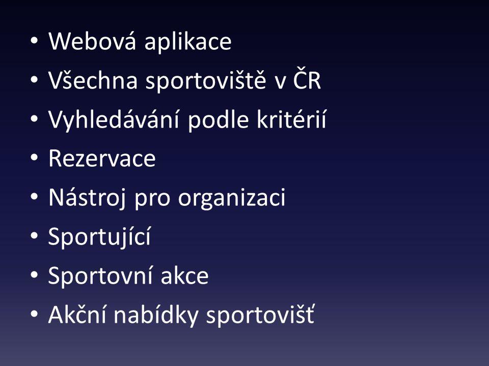 Webová aplikace Všechna sportoviště v ČR Vyhledávání podle kritérií Rezervace Nástroj pro organizaci Sportující Sportovní akce Akční nabídky sportovišť