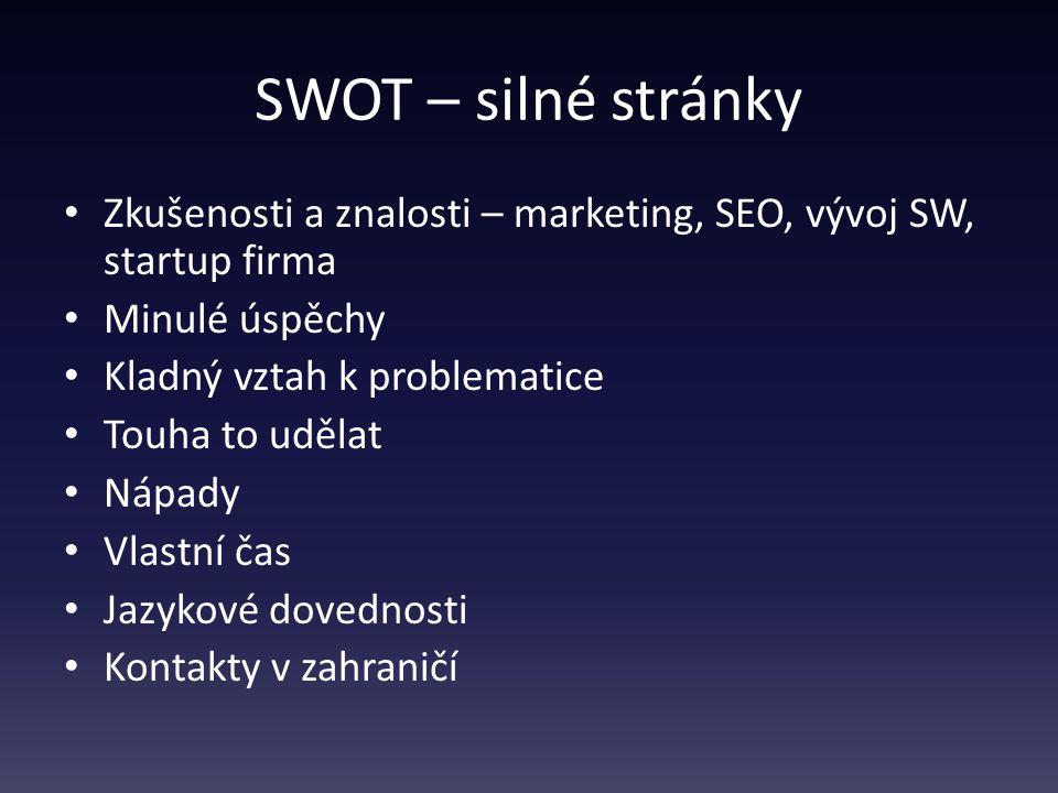 SWOT – silné stránky Zkušenosti a znalosti – marketing, SEO, vývoj SW, startup firma Minulé úspěchy Kladný vztah k problematice Touha to udělat Nápady Vlastní čas Jazykové dovednosti Kontakty v zahraničí