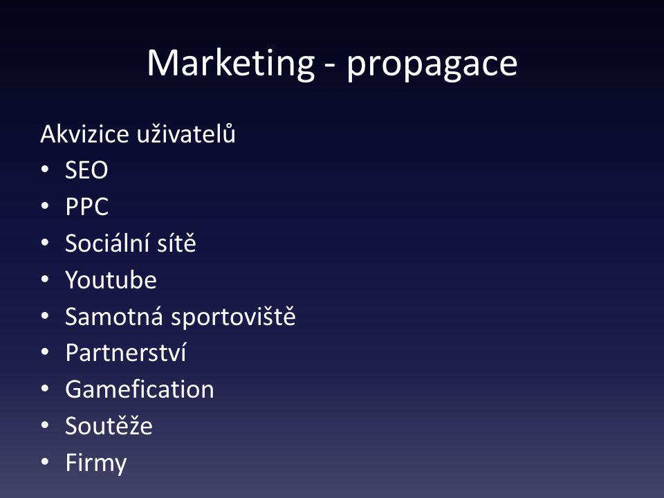 Marketing - propagace Akvizice uživatelů SEO PPC Sociální sítě Youtube Samotná sportoviště Partnerství Gamefication Soutěže Firmy