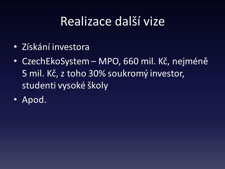 Realizace další vize Získání investora CzechEkoSystem – MPO, 660 mil.
