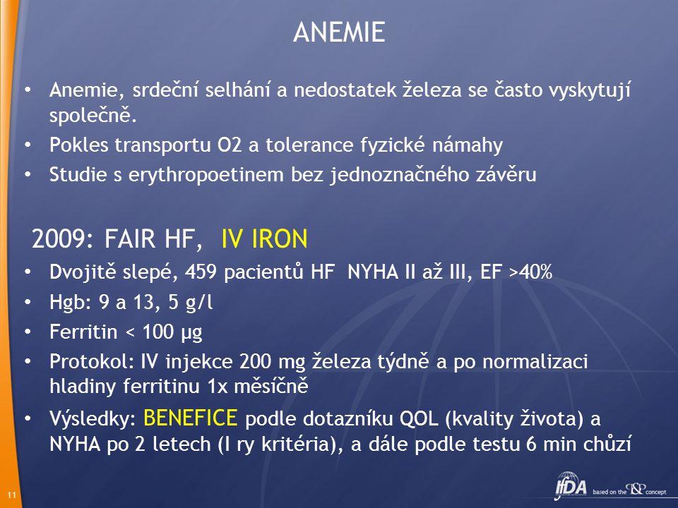 11 ANEMIE Anemie, srdeční selhání a nedostatek železa se často vyskytují společně. Pokles transportu O2 a tolerance fyzické námahy Studie s erythropoe