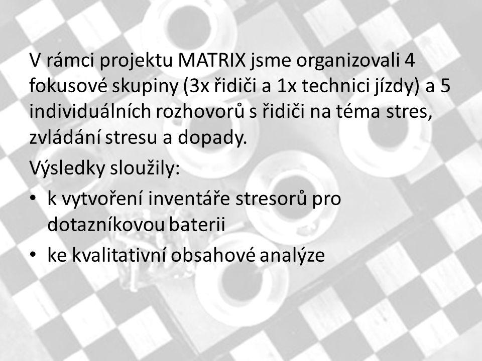 V rámci projektu MATRIX jsme organizovali 4 fokusové skupiny (3x řidiči a 1x technici jízdy) a 5 individuálních rozhovorů s řidiči na téma stres, zvládání stresu a dopady.