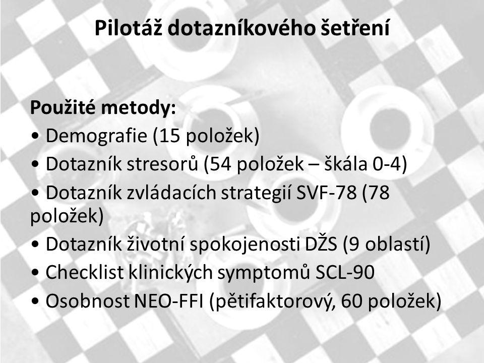 Použité metody: Demografie (15 položek) Dotazník stresorů (54 položek – škála 0-4) Dotazník zvládacích strategií SVF-78 (78 položek) Dotazník životní spokojenosti DŽS (9 oblastí) Checklist klinických symptomů SCL-90 Osobnost NEO-FFI (pětifaktorový, 60 položek) Pilotáž dotazníkového šetření