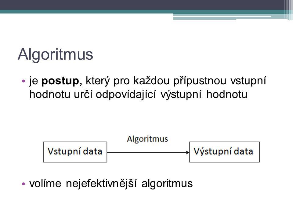 Algoritmus je postup, který pro každou přípustnou vstupní hodnotu určí odpovídající výstupní hodnotu volíme nejefektivnější algoritmus