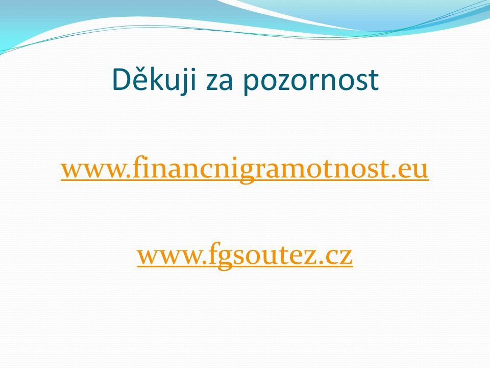 Děkuji za pozornost www.financnigramotnost.eu www.fgsoutez.cz