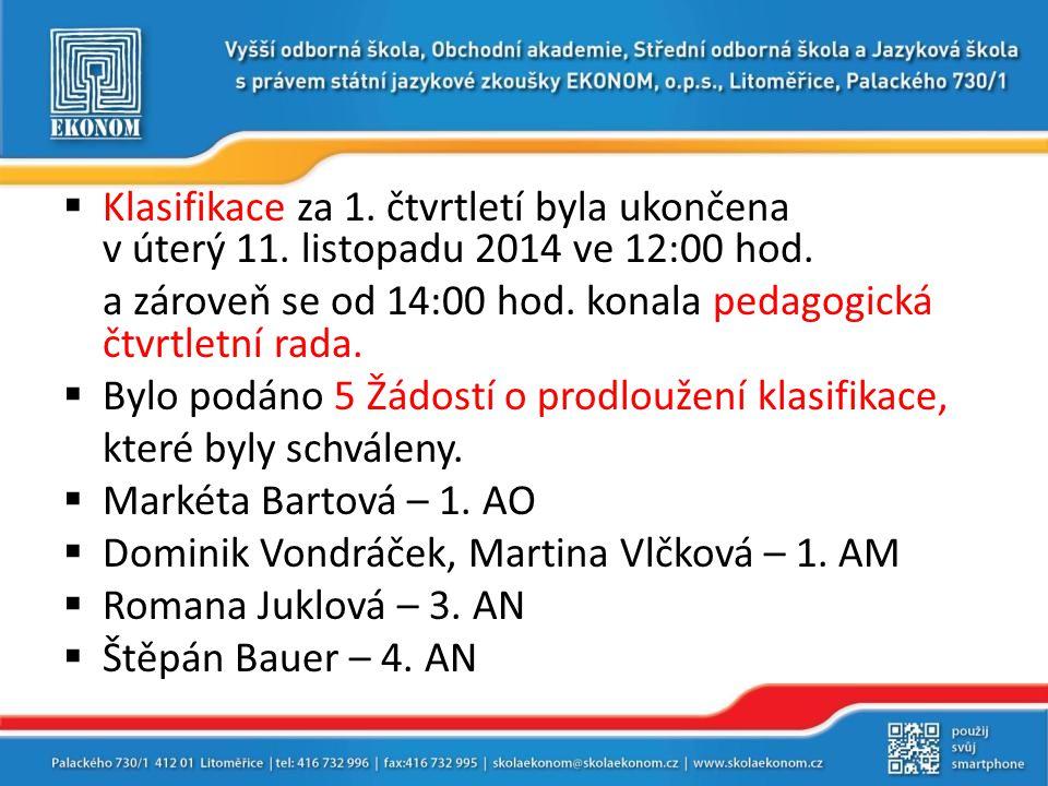  Klasifikace za 1. čtvrtletí byla ukončena v úterý 11. listopadu 2014 ve 12:00 hod. a zároveň se od 14:00 hod. konala pedagogická čtvrtletní rada. 